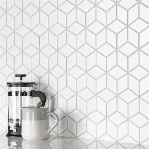 "SomerTile Metro Rhombus Matte White 10.5""x12.13"" Porcelain Mosaic Floor and Wall Tile"