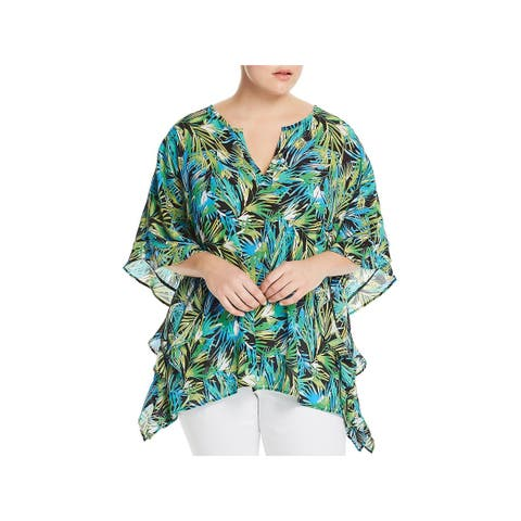 Status by Chenault Womens Plus Pullover Top Crepe Printed