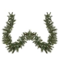 "9' x 10"" Pre-lit Snow Mountain Pine Artificial Christmas Garland - Clear Lights - green"