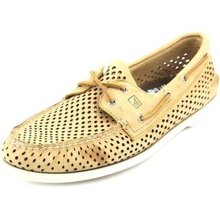 Sperry Top Sider A/O 2 Eye Laser Men Moc Toe Leather Tan Boat Shoe