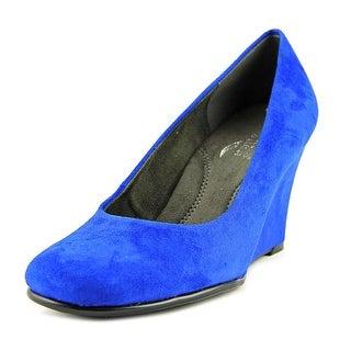 Aerosoles Plum Tree Women W Open Toe Canvas Blue Wedge Heel
