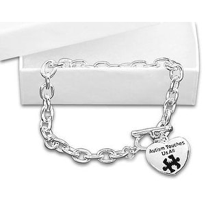 Autism Awareness Bracelet - Autism Touches Us All - Silver