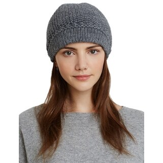 Aqua Ladies Grey Heather Knit Visor Cap One Size Made In Italy