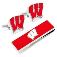 University of Wisconsin Badgers Cufflinks and Money Clip Gift Set - Red