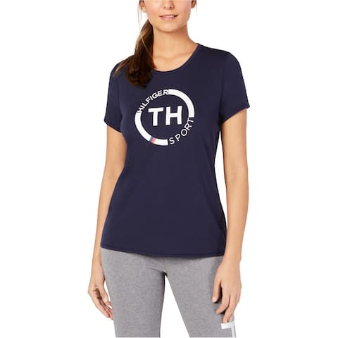 Tommy Hilfiger Womens Crew Neck Graphic T-Shirt, Blue, XX-Large