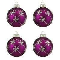 """4ct Matte Magenta Purple with Silver Flower Design Glass Ball Christmas Ornaments 2.5"""" (65mm)"""