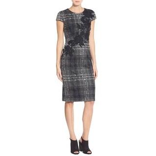 Betsey Johnson Cap Sleeve Embroidered Plaid Knit Sheath Dress Gray Black 8