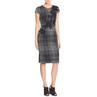 Betsey Johnson Cap Sleeve Embroidered Plaid Knit Sheath Dress Gray Black 8
