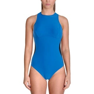 It Figures! Womens Colorblock High Neck One-Piece Swimsuit
