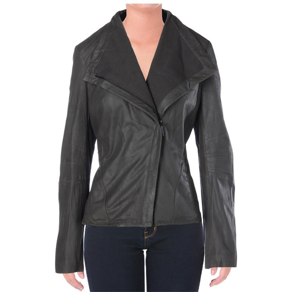 Elie Tahari Womens Jeanette Motorcycle Jacket Leathered Textured