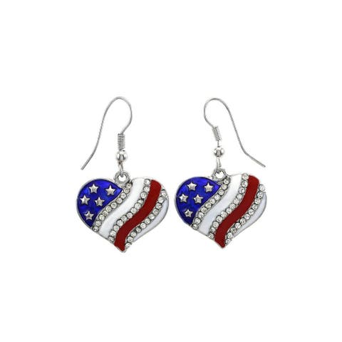 Patriotic American Flag Heart Shaped Dangle Earrings with Crystals