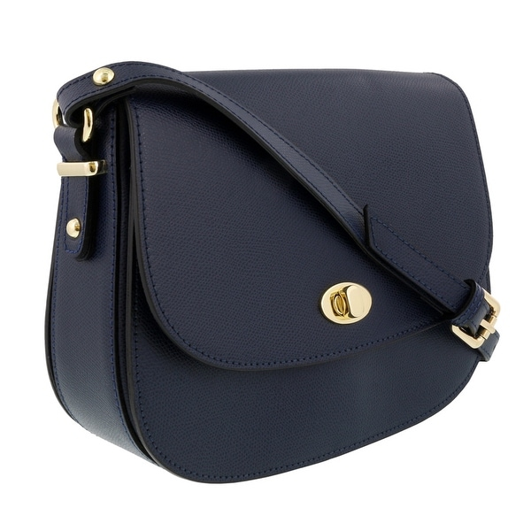 HS Collection HS1425 BLU Navy Blue Saddle Shoulder Bag - Navy Blue