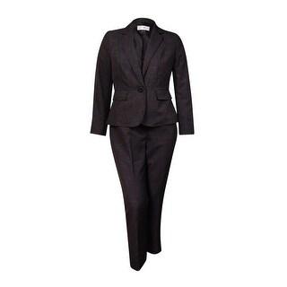 Le Suit Women's Plus Size Crosshatch 1-Button Pant Suit - Black Multi