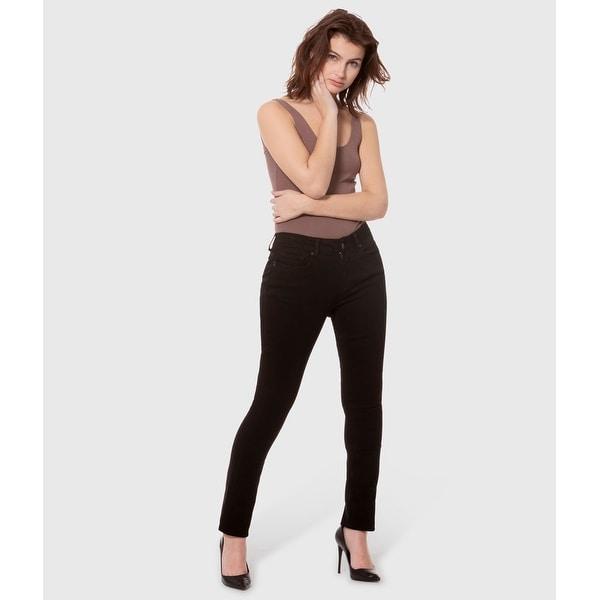 Lola Kristine-BLK, Mid rise Straight Jeans