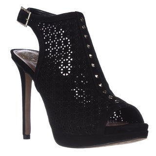 Vince Camuto Caliope Cuot-Out Open-Toe Slingback Bootie Heels, Black - 8.5 us / 38.5 eu