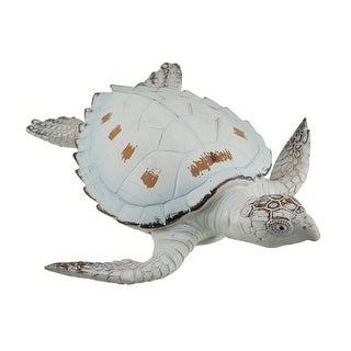 Whitewashed Finish Decorative Sea Turtle Statue or Wall Hanging - Off-white