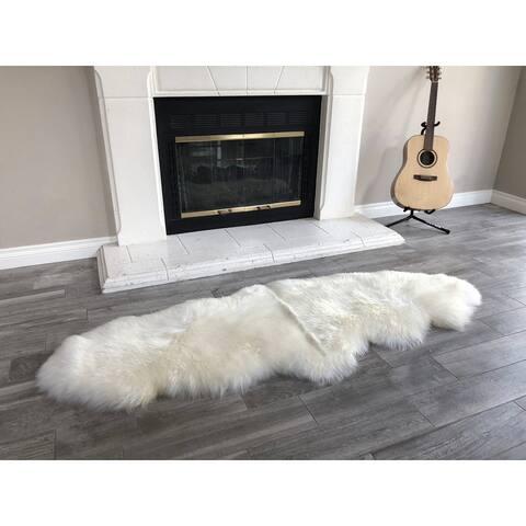 "Dynasty Natural 2-Pelt Luxury Long Wool Sheepskin Off White Shag Rug - 2' x 5'5"""