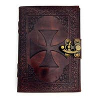 Azure Green  Knights Templar Leather Blank Book with Latch, 5 x