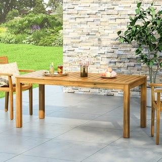 """Augustine Outdoor Rustic Acacia Wood Dining Table by Christopher Knight Home - 69.00"""" W x 32.50"""" D x 29.50"""" H"""