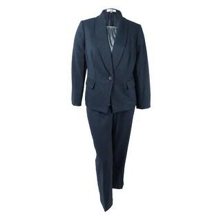 Le Suit Women's Plus Size Three-Piece One-Button Pantsuit (16W, Midnight/Storm) - midnight/storm - 16W