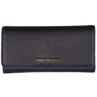 "Vera Bradley Women's Black Leather Audrey Continental Wallet - 7"" x 4"""