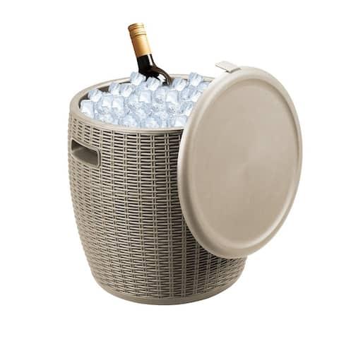 Zenova 45L Large Polypropylene Portable Wicker Ice Bucket Home Patio Yard Waterproof Light Brown