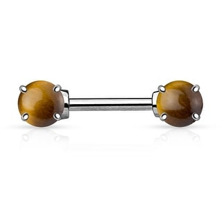 Semi Precious Stone Prong Ends Surgical Steel Nipple Bar Ring - 14GA (Sold Ind.)