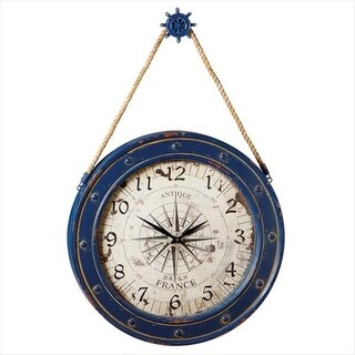 "36"" Antique-Style Cobalt Blue Compass Wall Clock with Ship Wheel Hanger"