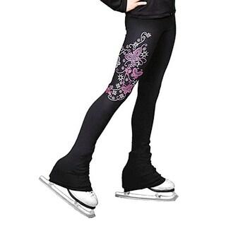 ChloeNoel Pink Butterfly Ice Skating Pants Girls 6-12 Adult XS-L