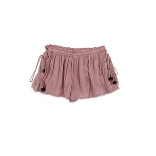 Sun & Shadow Purple Size XL Junior Tassel-Trim Textured Shorts