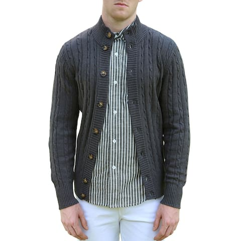 Men Stand Collar Long Sleeves Cable Knit Single Breasted Cardigan - Gray