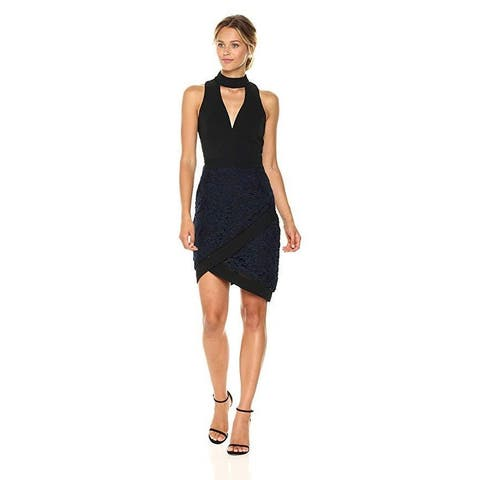 Adelyn Rae Women's Sasha Woven Mock Neck Sheath Dress with Lace, Black/Navy,SZ M
