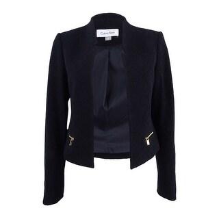 Calvin Klein Women's Petite Perforated Texture Blazer - Black