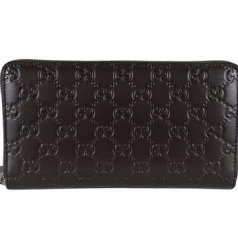 Gucci Signature Mens Cocoa Brown GG Guccissima Calf Leather Wallet 447906 - M