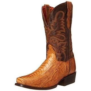 Dan Post Mens Yuma Leather Ostrich Print Cowboy, Western Boots - 10 extra wide (e+, ww)