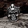 Vienna Jewelry Stainless Steel Skull King Ring - Thumbnail 2