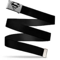 Superman Brushed Silver Black  Cam Black Webbing Web Belt