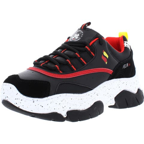 Skechers Womens Amp'd- Keep It 100 Athletic Shoes Chunky Lifestyle - Black/Red