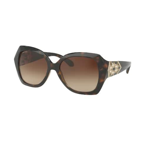 Bvlgari BV8182B 977/13 55 Dark Havana Woman Square Sunglasses