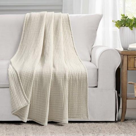 Lush Decor Solid Kantha Pick Stitch Yarn Dyed Cotton Woven Throw Blanket