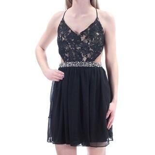 Womens Black Spaghetti Strap Mini Fit + Flare Party Dress Size: 1