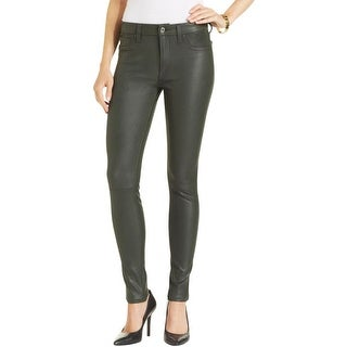 7 For All Mankind Womens Skinny Pants Faux Leather Moto