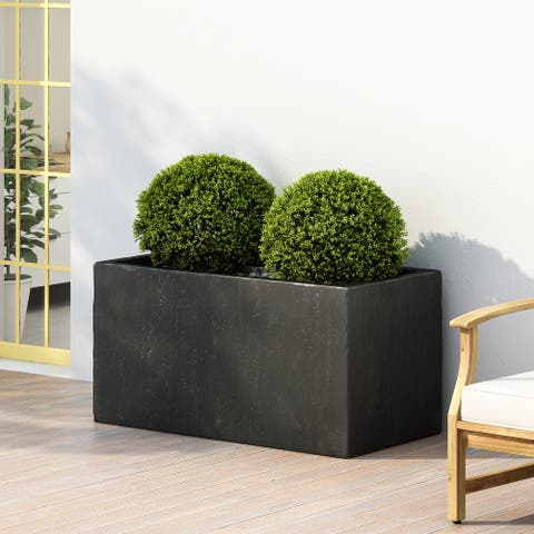 Ella Outdoor Modern Cast Stone Rectangular Planter by Christopher Knight Home