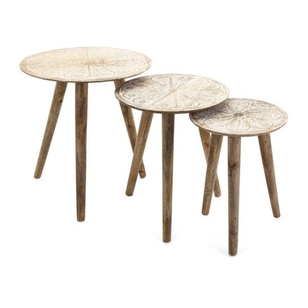 "Set of 3 Floral Print Mango Wood 3 Leg Round Nesting Tables 25"" - N/A"