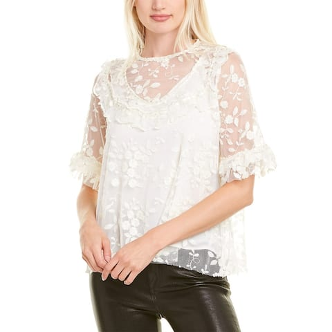 The Kooples Floral Tulle Top