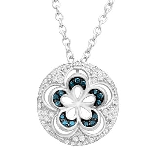 1/6 ct Blue & White Diamond Flower Cut-Out Pendant in Sterling Silver