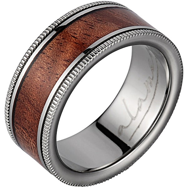 Titanium Wedding Band With Koa Wood Inlay & Coined Edges 8mm