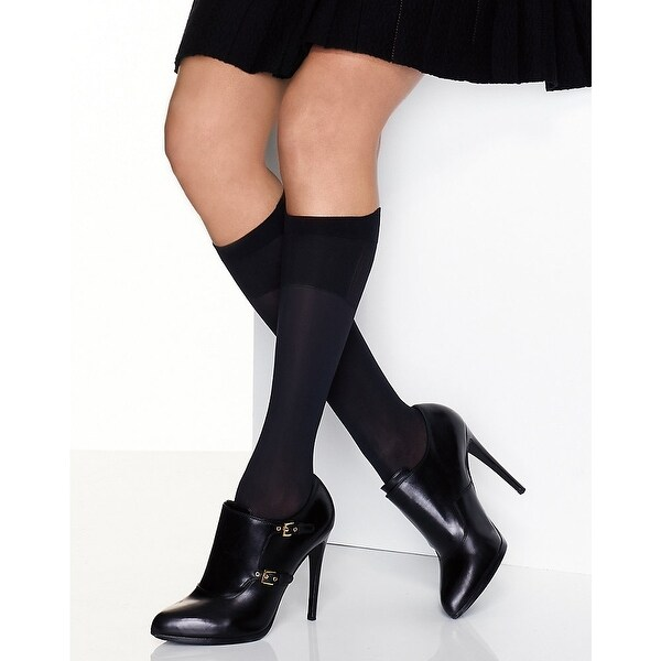 6a6e7e8310a Shop Hanes Perfect X-Temp® Blackout Knee Socks 2-Pack - Color - Black -  Size - 2 - Free Shipping On Orders Over  45 - Overstock - 24247167