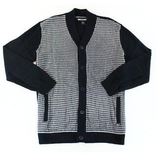 Alfani NEW Black Grey Mens Size XLT Textured Knit Cardigan Sweater
