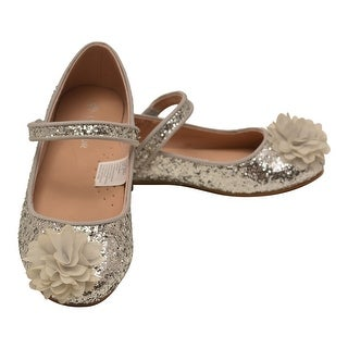 L'Amour Little Girls Silver Glitter Special Occasion Flats
